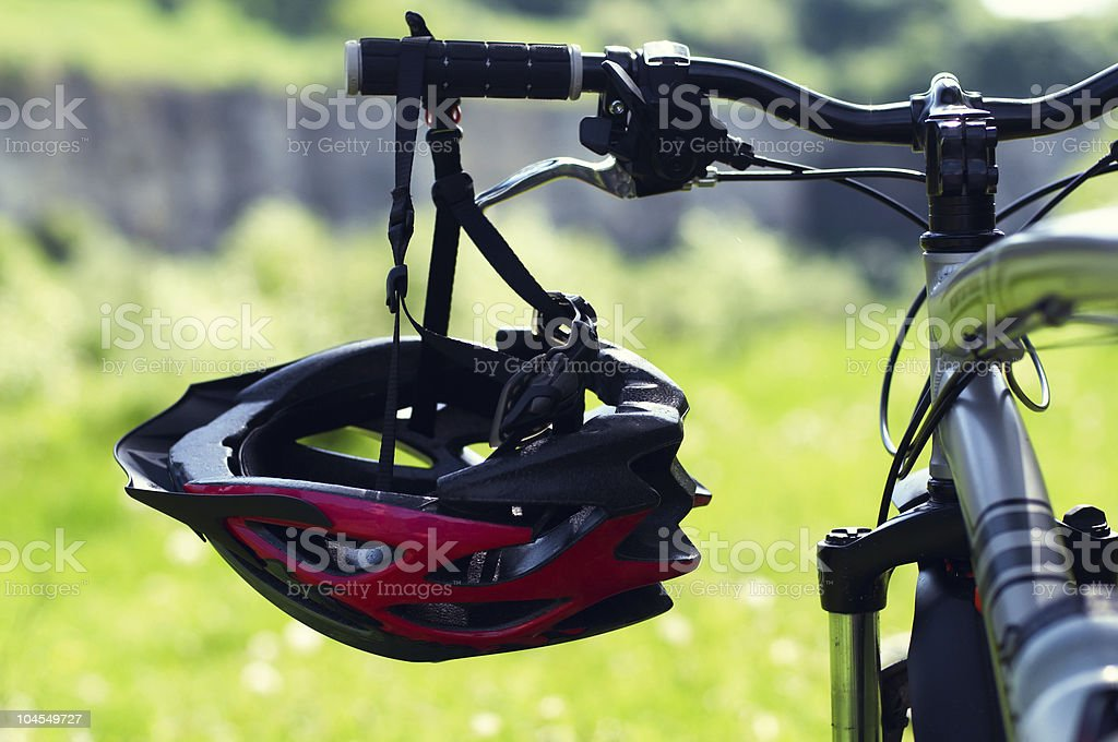 Cycling Helmet at park. stock photo