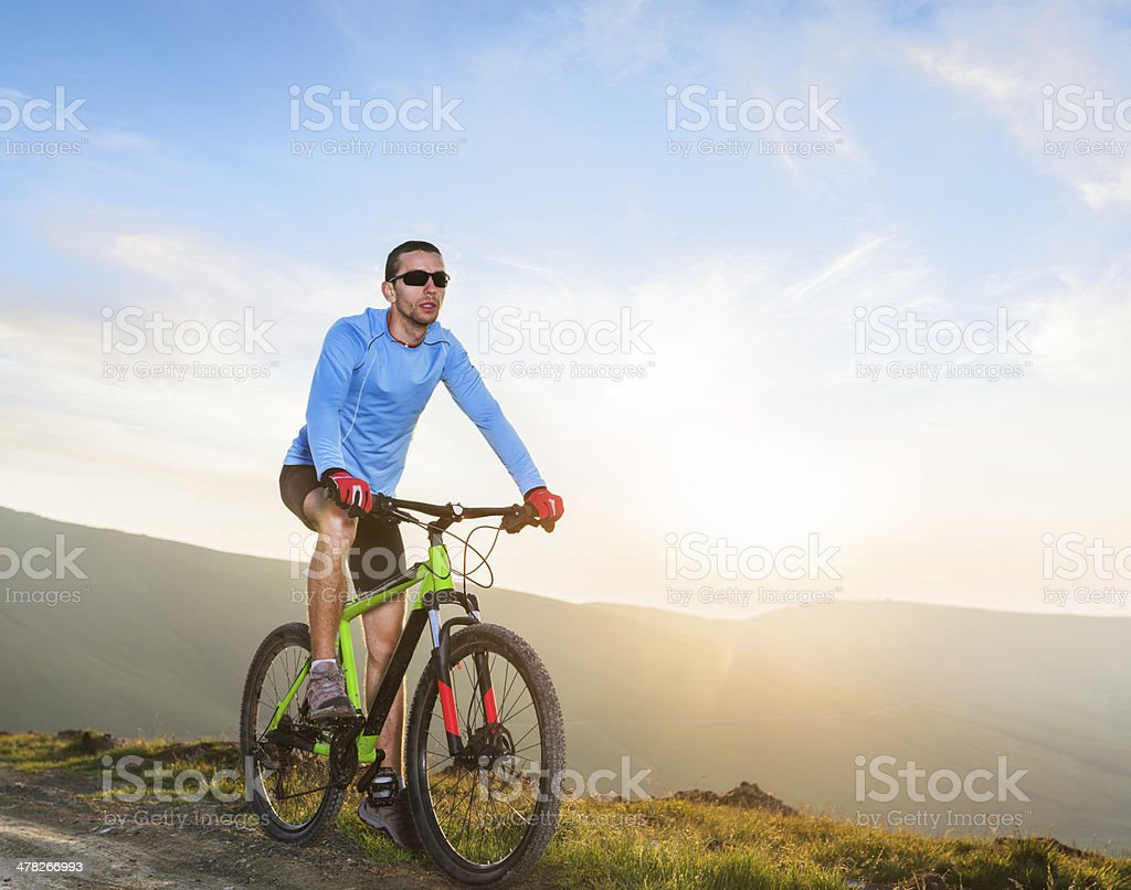 Cycling in a non urban area royalty-free stock photo