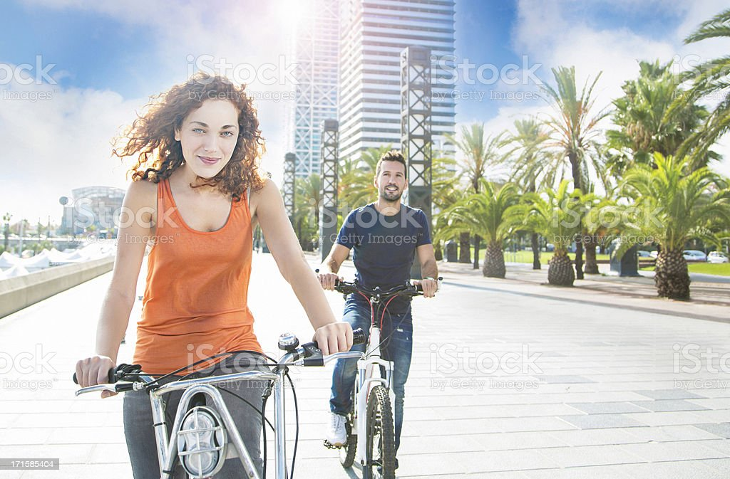Cycling in Barcelona royalty-free stock photo
