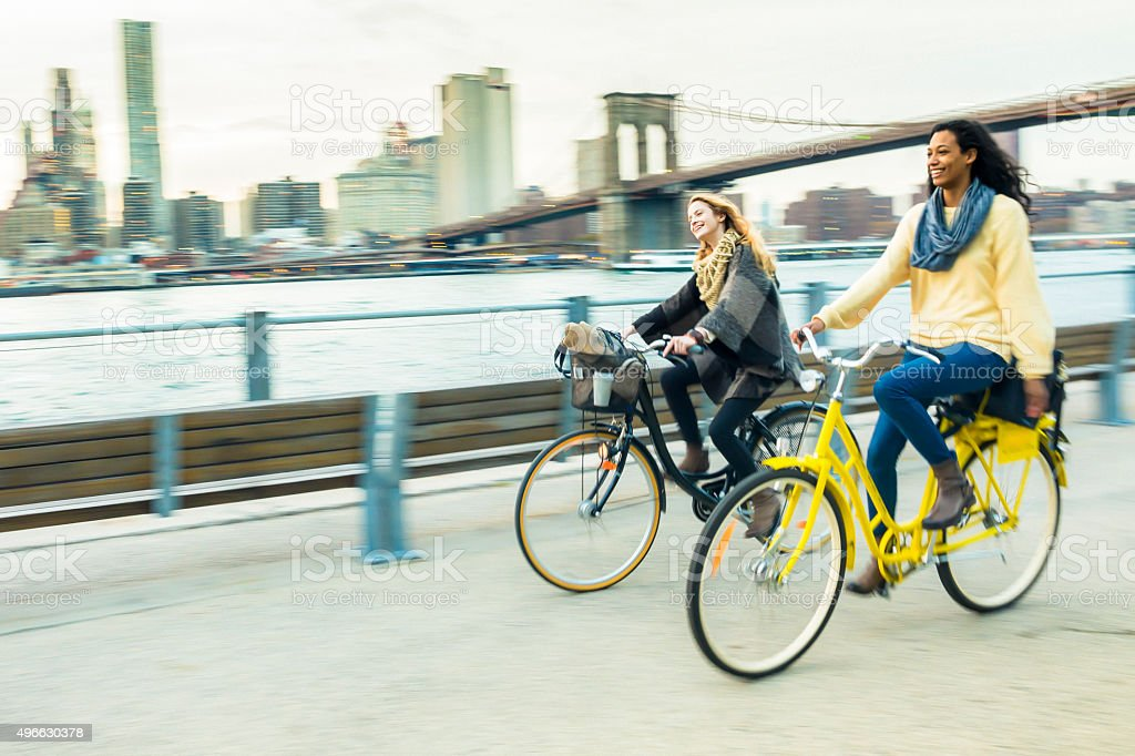 Cycling in Brooklyn Bridge Park stock photo