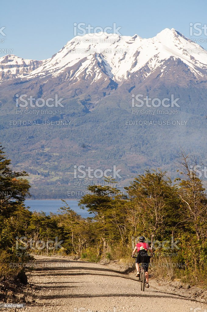 Cycling in Chilean Patagonia stock photo