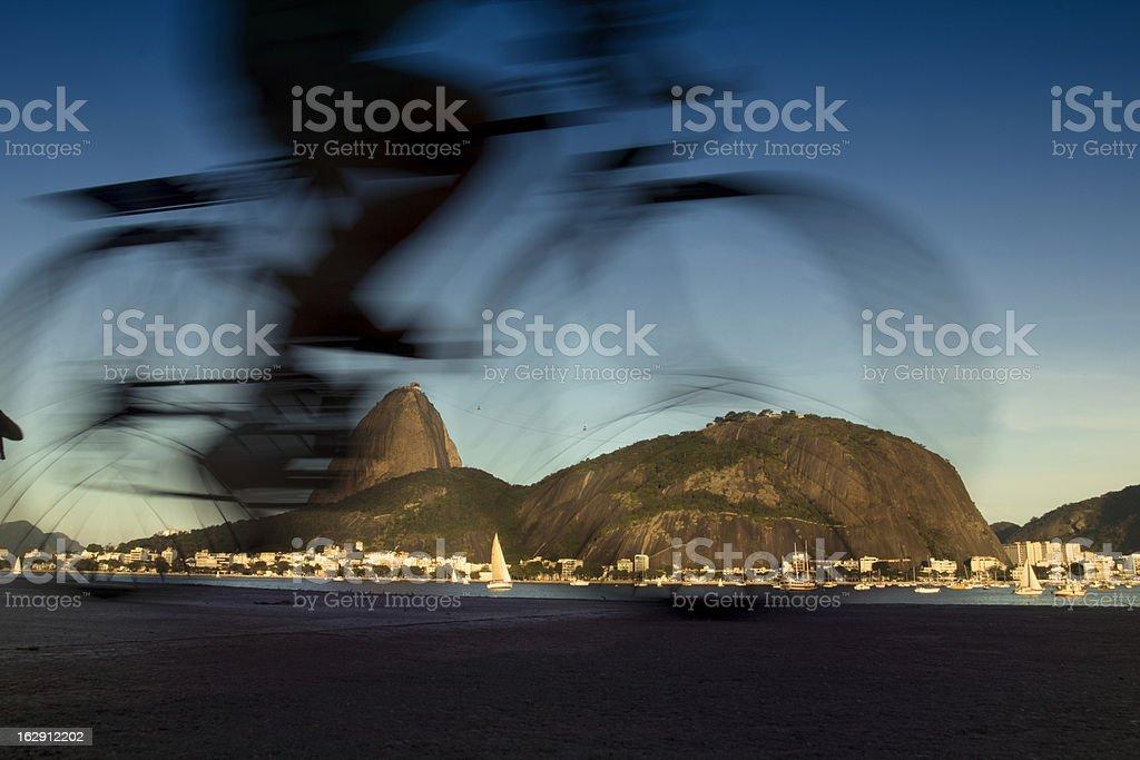 Cycling in Rio de Janeiro city stock photo