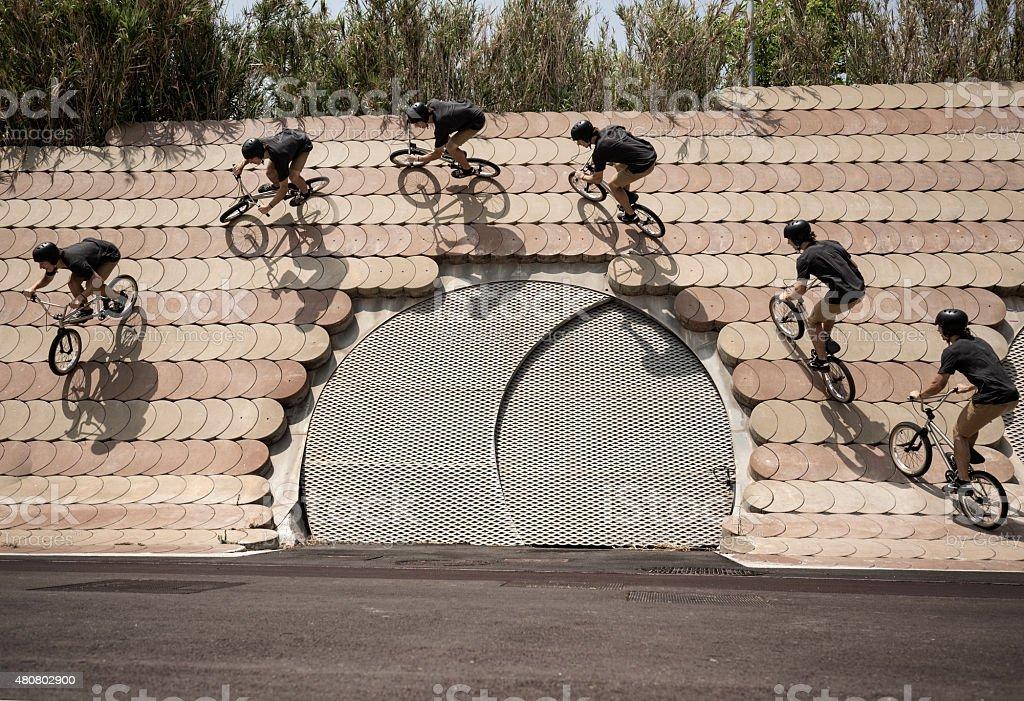 BMX rider in urban environment Multiple exposure
