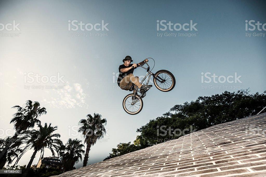 BMX rider in urban environment
