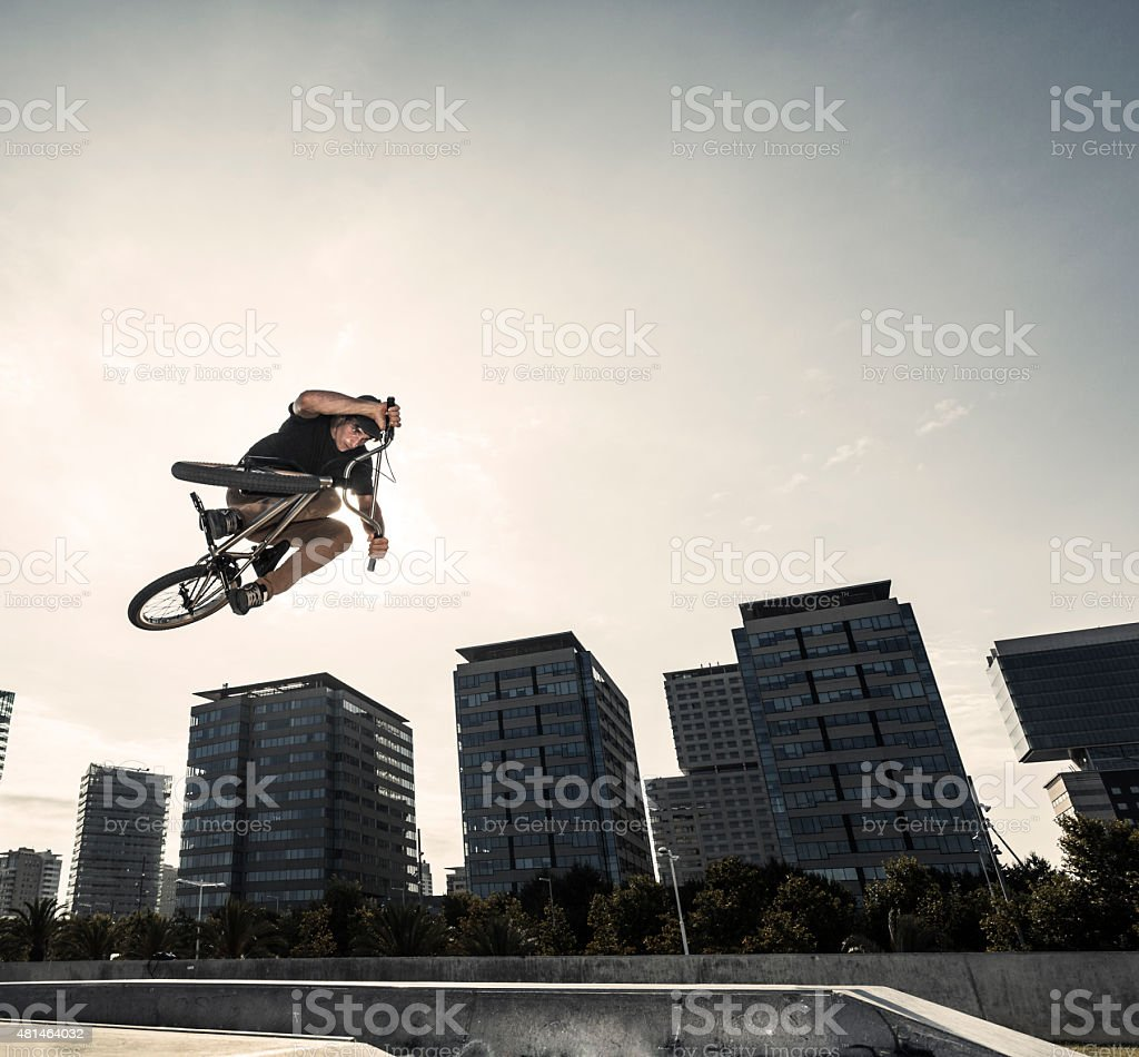BMX cycling in the city stock photo