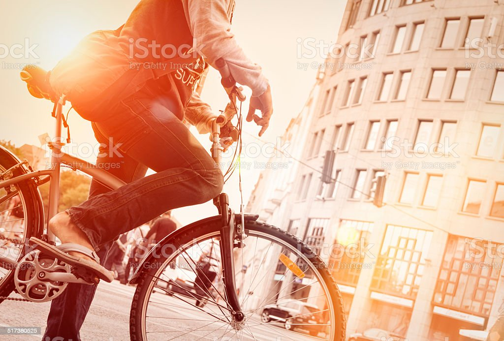 cycling in the city stock photo