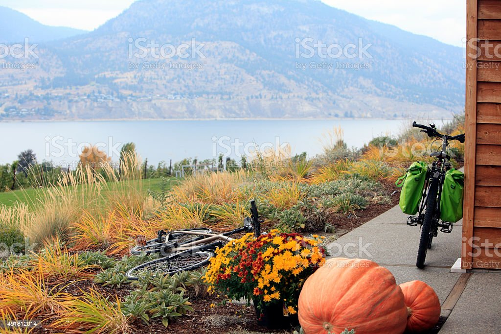 Cycling In The Fall stock photo