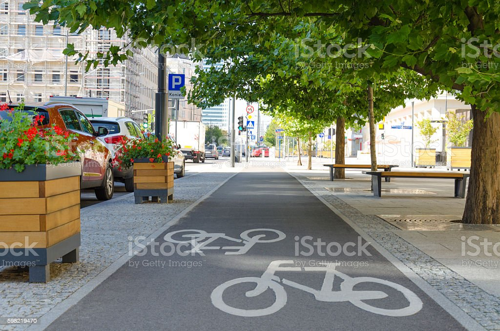 Cycling infrastructure in the city stock photo