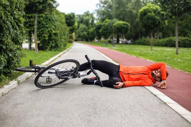 Cycling injury stock photo