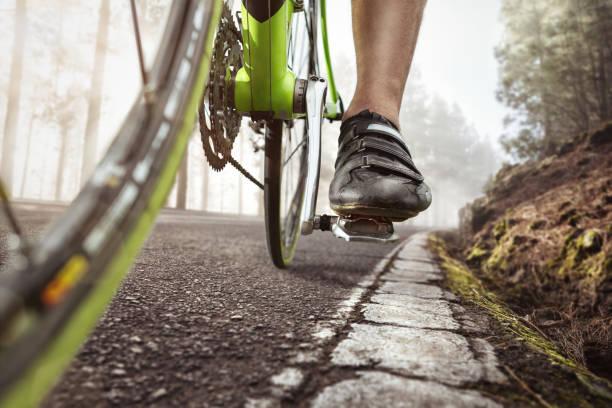 ciclismo en un camino bosque neblinoso - pedal fotografías e imágenes de stock