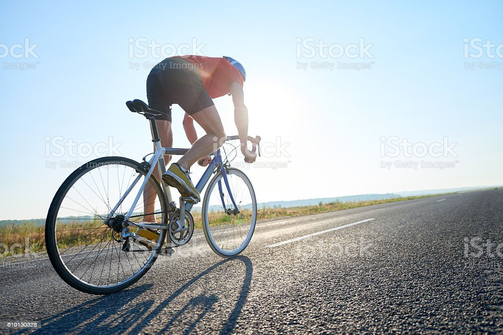 Cycling on highway - foto stock