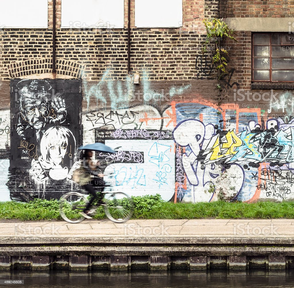 Cycling on Regent's Canal stock photo