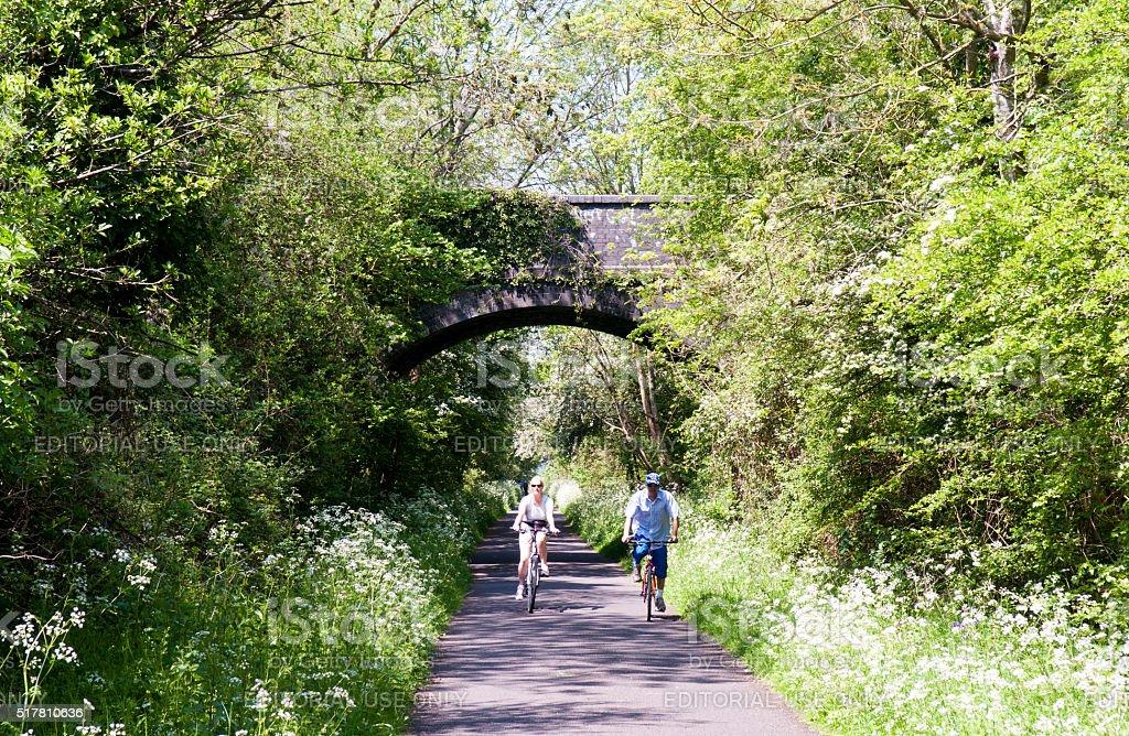 Cycling on the Bristol and Bath Railway Path stock photo