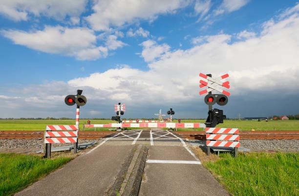 fietspad, spoorwegovergang en windmolen, Holland foto