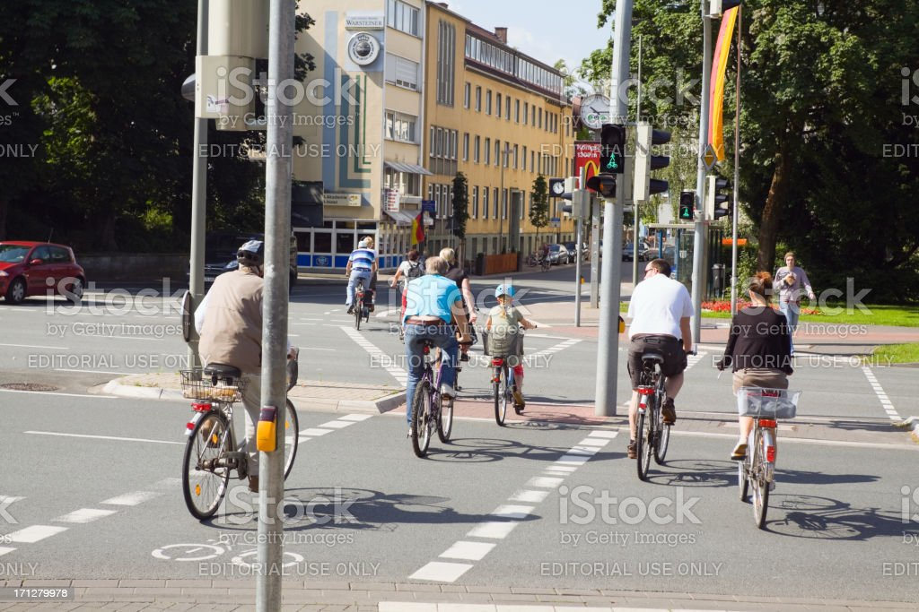 Cycling people in Paderborn stock photo