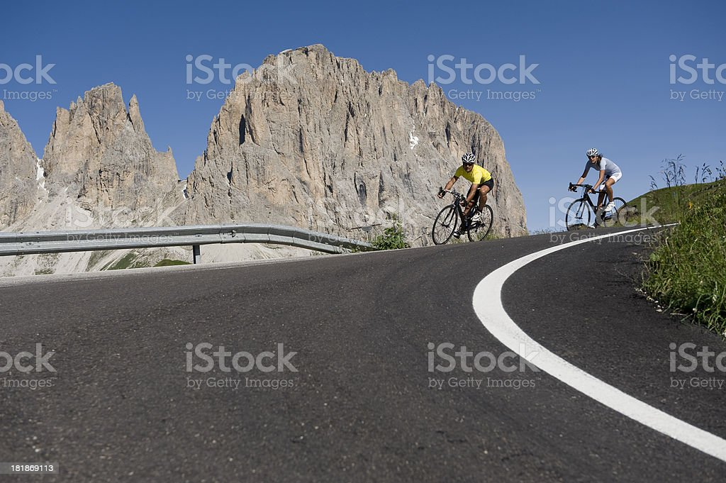 cycling road Dolomites race stock photo