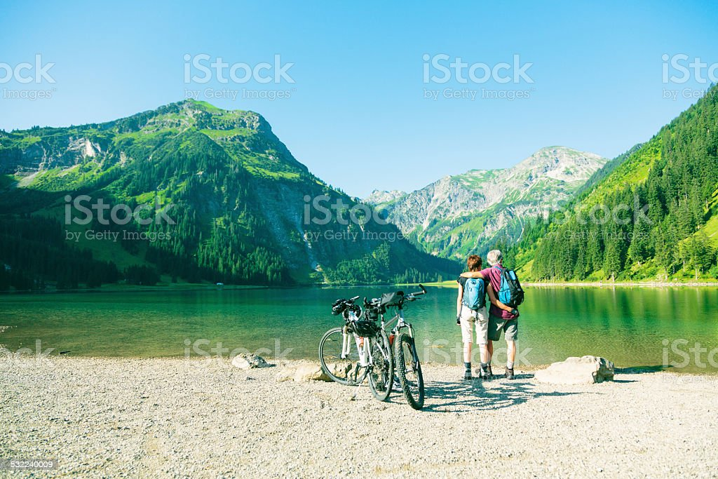 cycling seniors stock photo