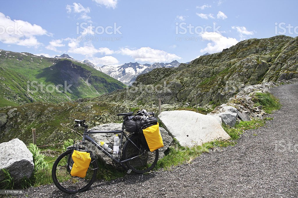 Cycling the Alps royalty-free stock photo