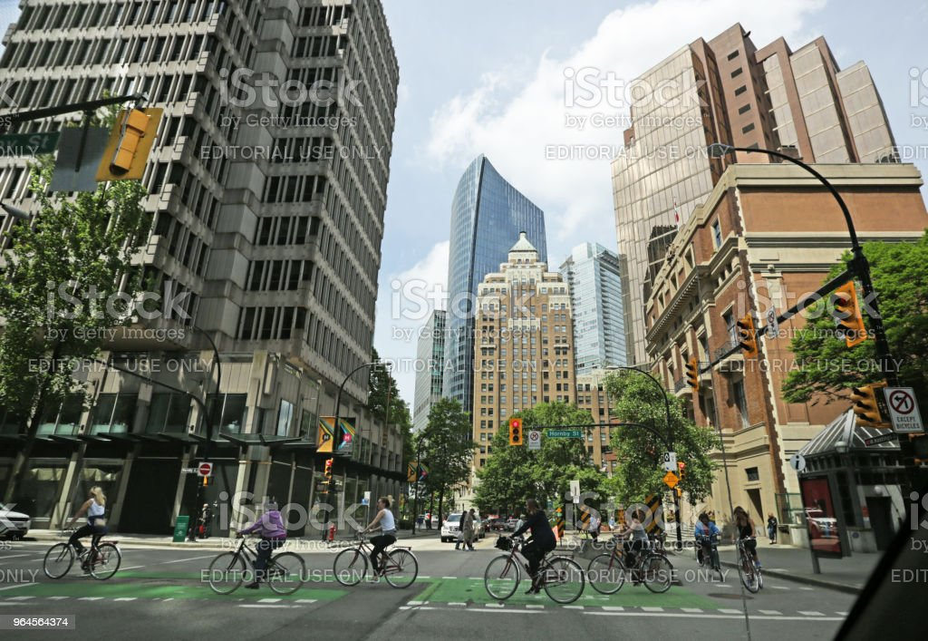 Cycling through Downtown Vancouver, Canada