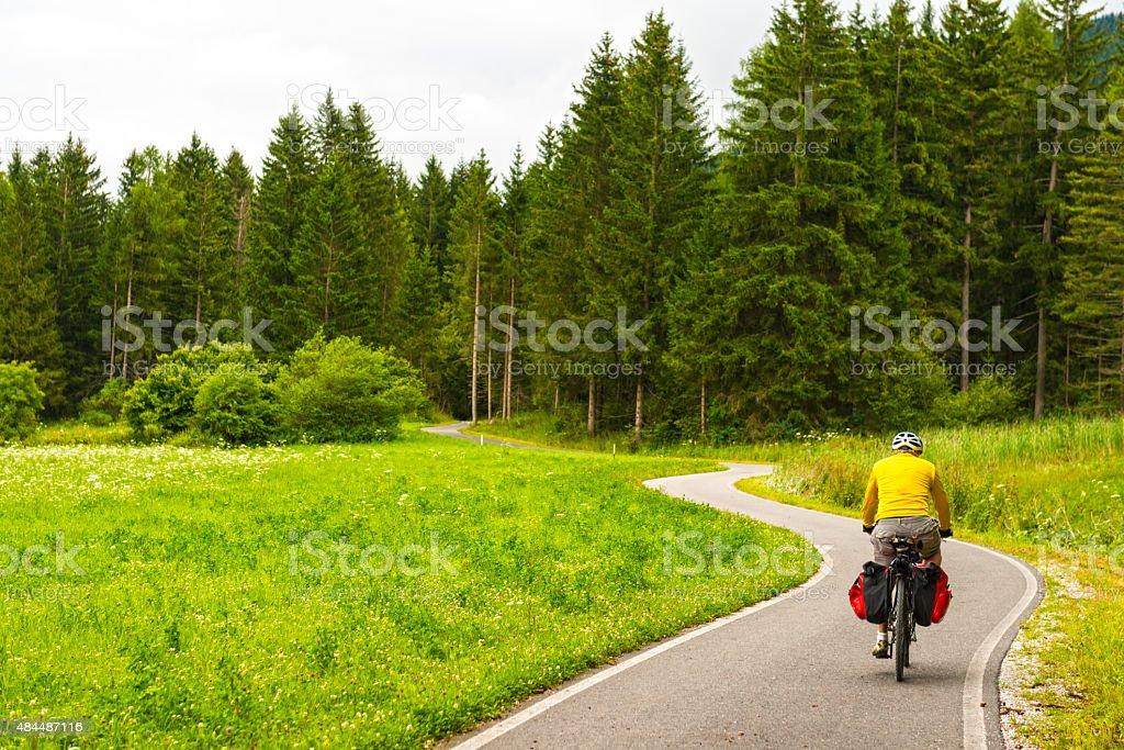 Ciclismo en el bosque de la lluvia Drava de ciclismo en ruta - foto de stock