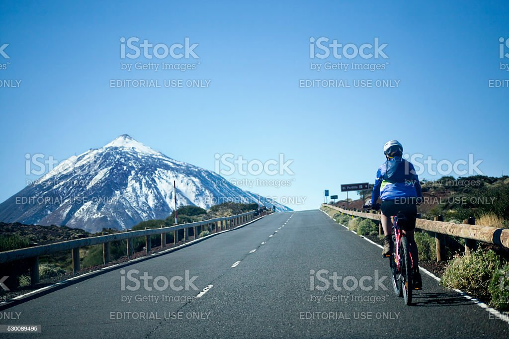 Cycling to the mount Teide. stock photo
