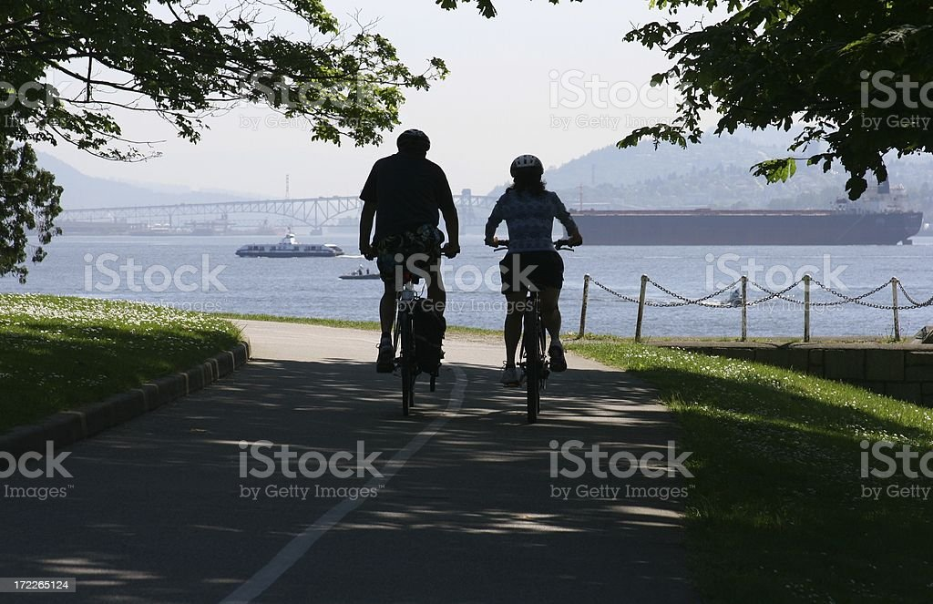 Cycling Vancouver's Stanley Park royalty-free stock photo