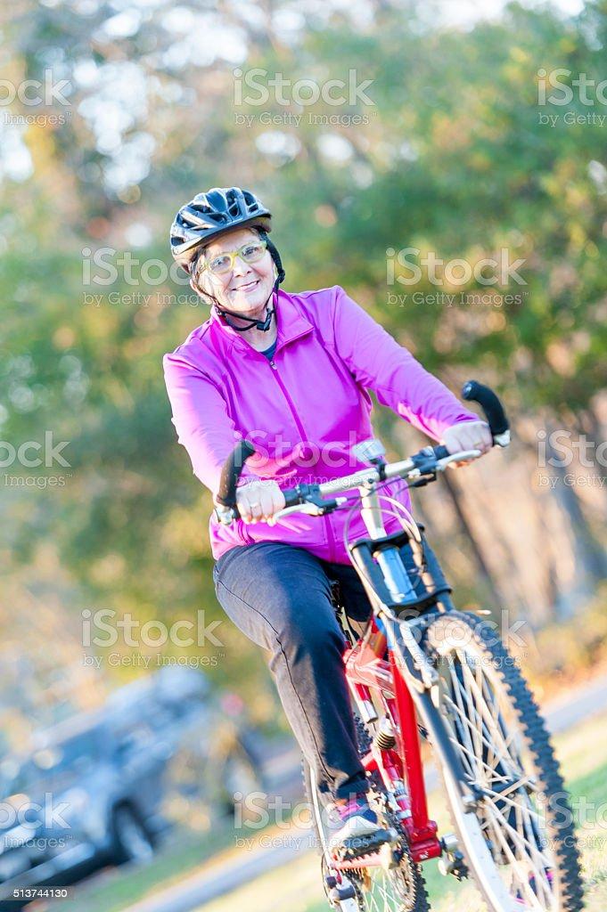 Cycling with Grandma stock photo