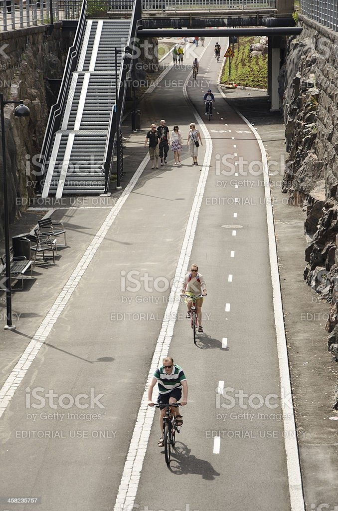 Cyclist and pedestrian lanes in Helsinki royalty-free stock photo