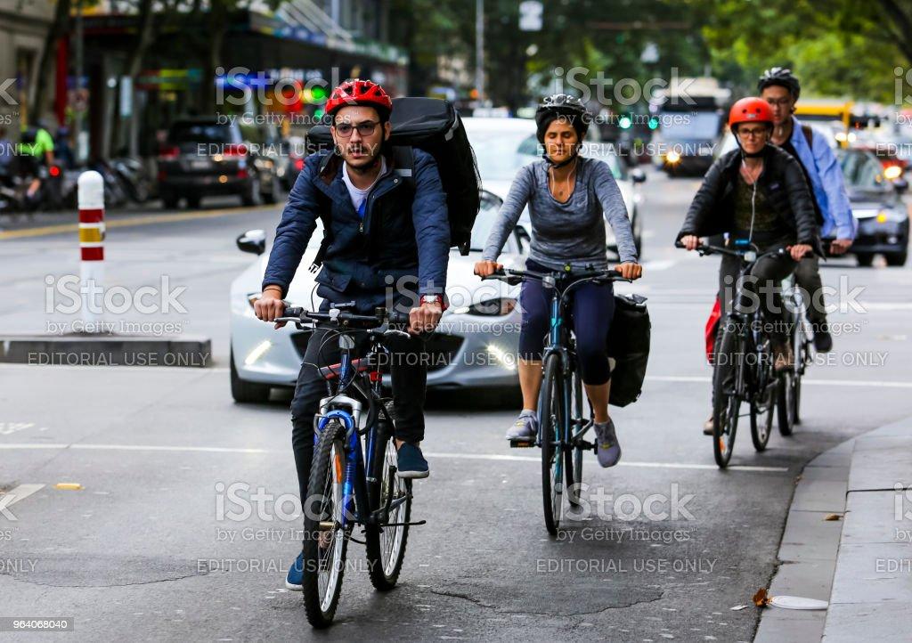 Cyclist at Melbourne city center - Royalty-free Australia Stock Photo