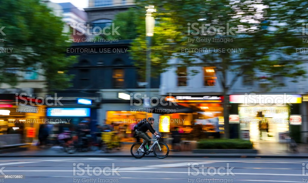 Cyclist at Melbourne city center - Royalty-free Australia Stock Photo