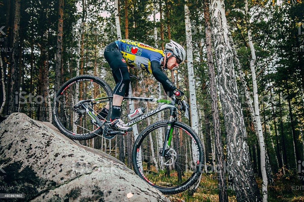 cyclist 자전거 침울 큰 결석 royalty-free 스톡 사진