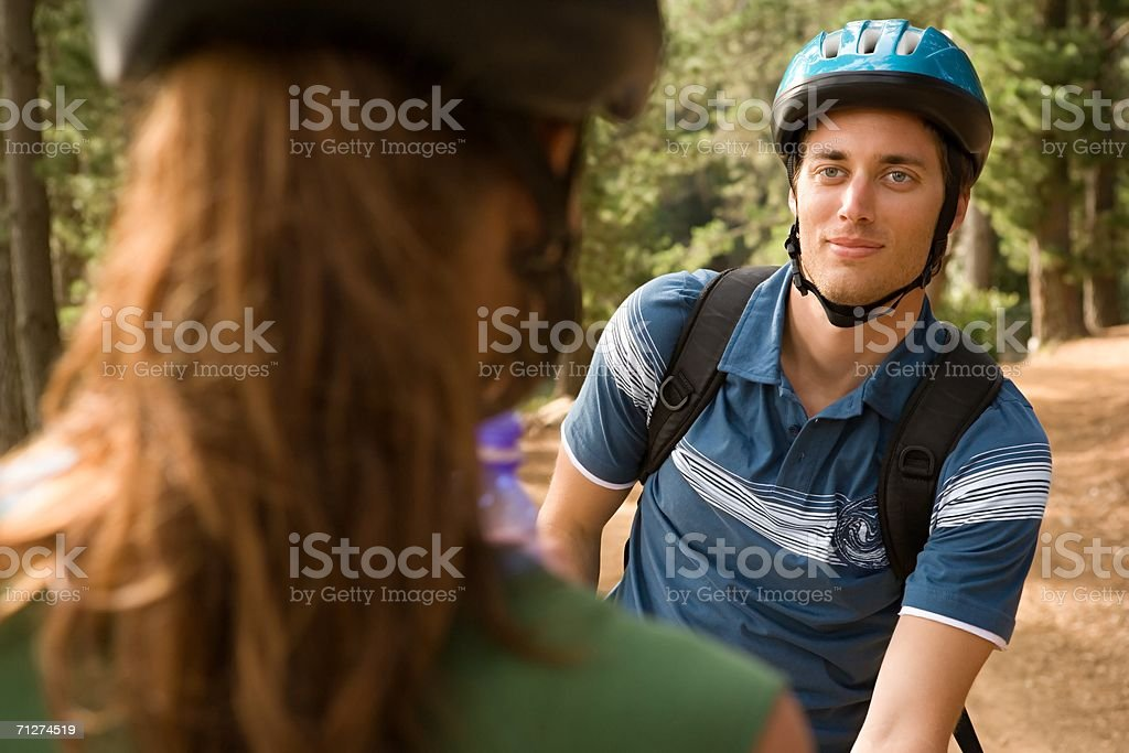 Cyclist couple royalty-free stock photo