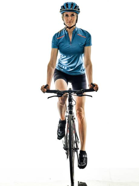 Radfahrer Fahrrad fahren Fahrrad Frau isoliert weißen Hintergrund – Foto