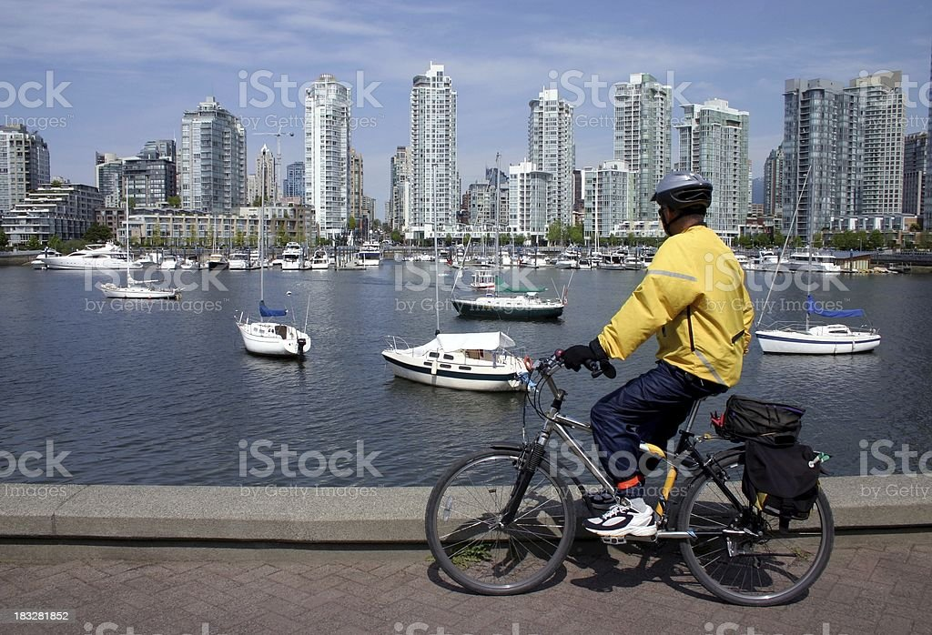 Cyclist Enjoying View Of Vancouver royalty-free stock photo