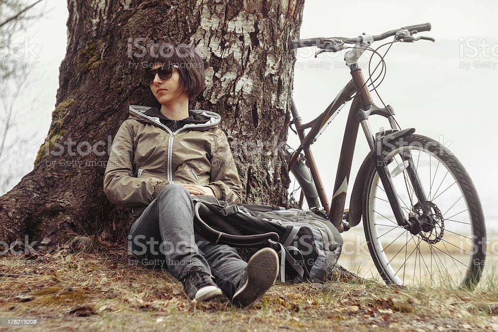 Cyclist enjoys nature royalty-free stock photo