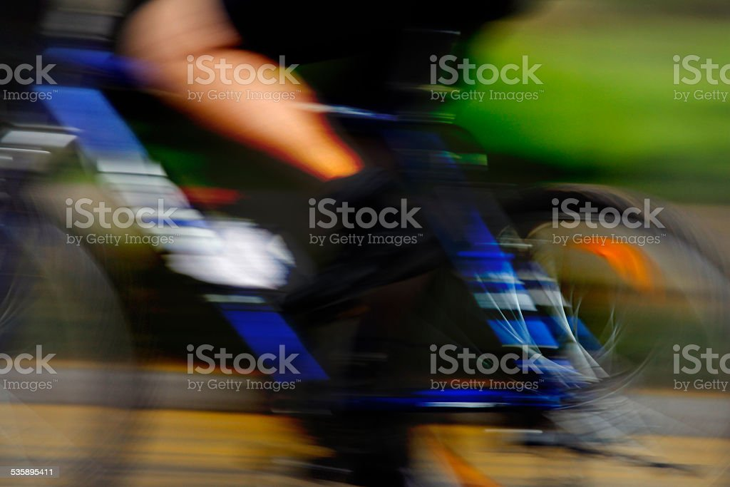 Cyclist in action stock photo