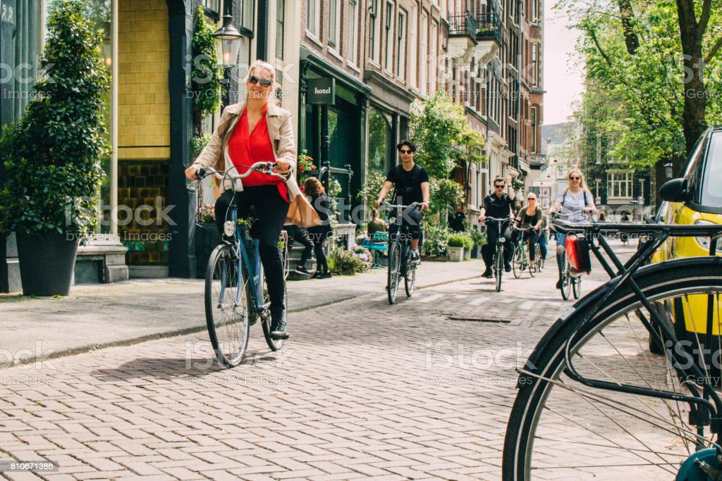 Cyclist in Amsterdam stock photo