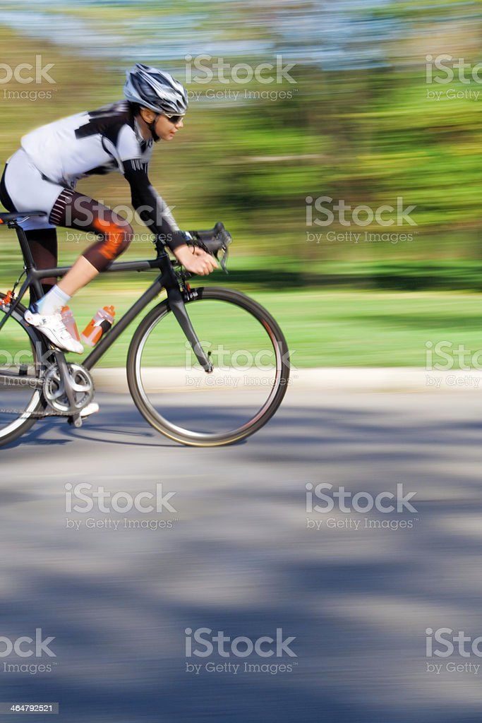 Cyclist in Blurred Motion stock photo