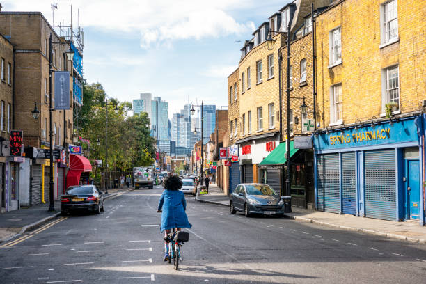 Cyclist in Hoxton, London stock photo