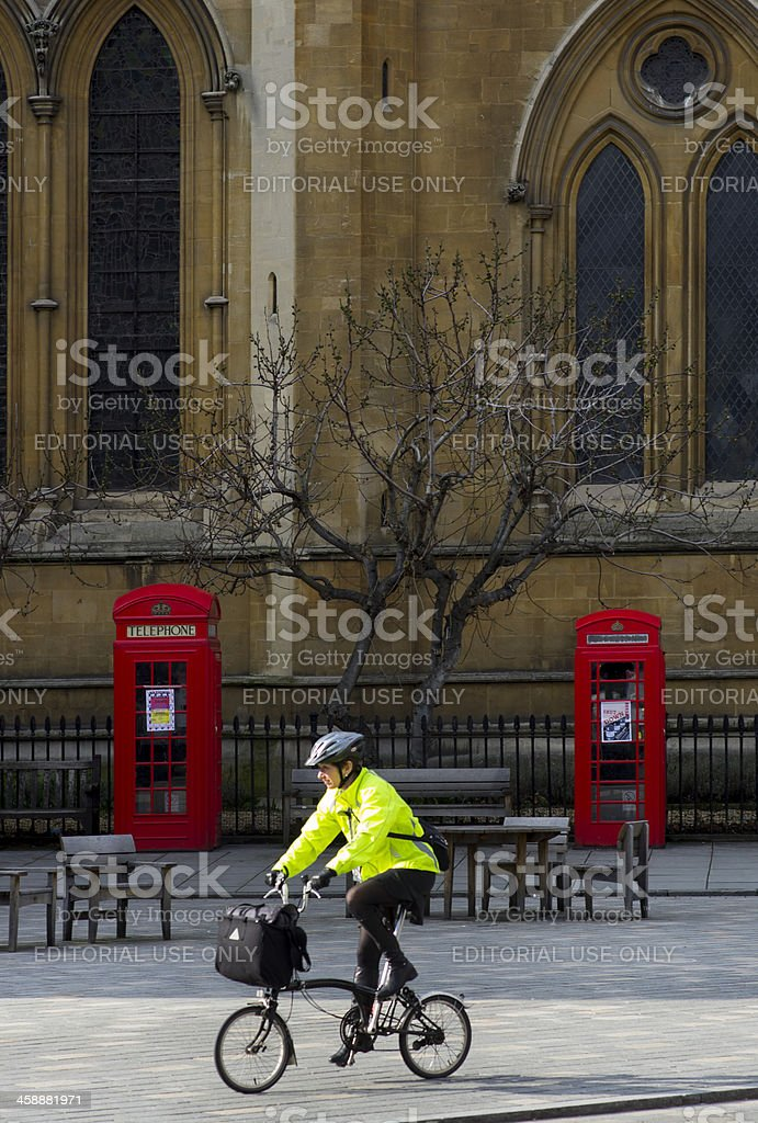 Cyclist in London royalty-free stock photo