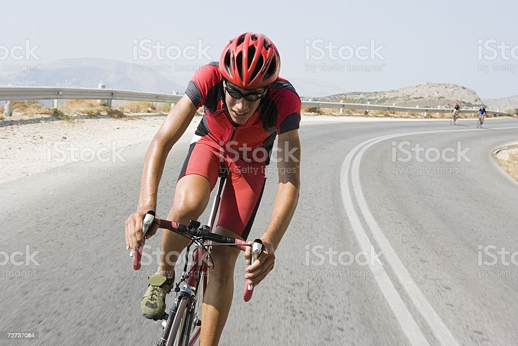 Cyclist in race stock photo