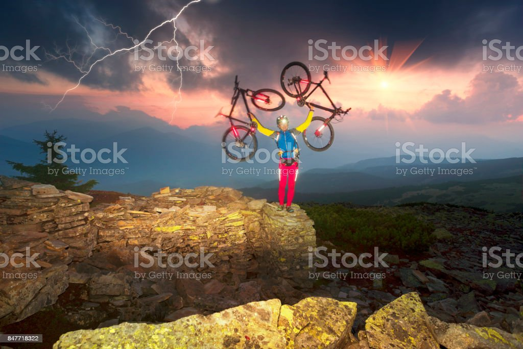 cyclist in the autumn mountains stock photo