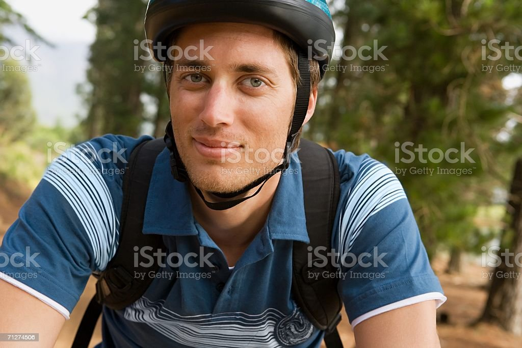 Cyclist in the forest royalty-free stock photo