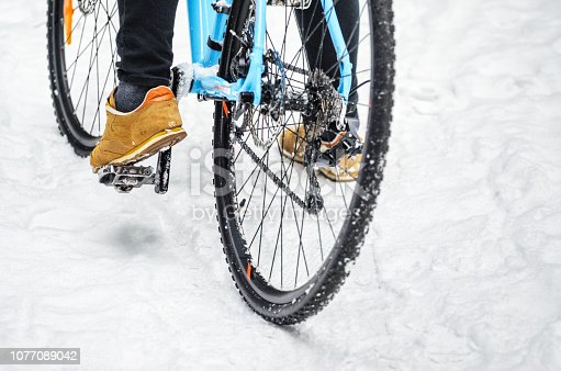 istock Cyclist in the snowy forest 1077089042