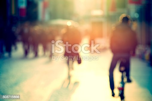 istock cyclist in the street, blurry 503715856