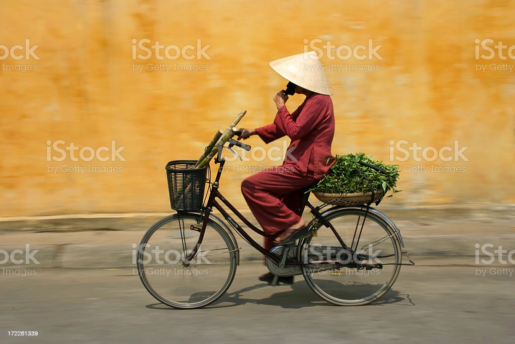 Cyclist in Vietnam royalty-free stock photo
