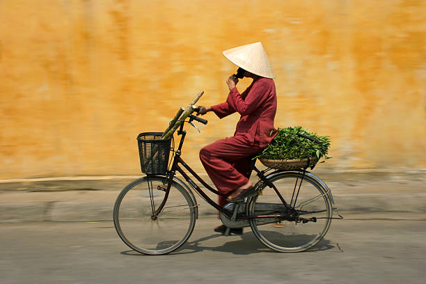 Cyclist in Vietnam stock photo