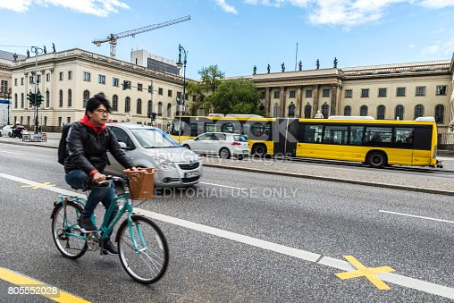 istock Cyclist on a street in Berlin, Germany 805552028