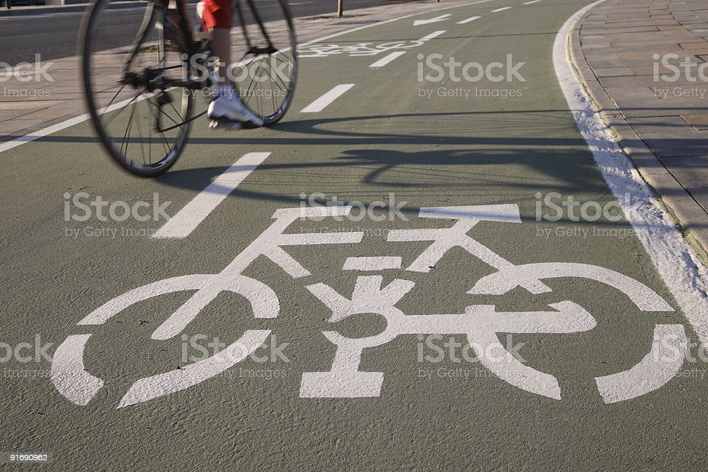 Cyclist on Cycle Lane stock photo