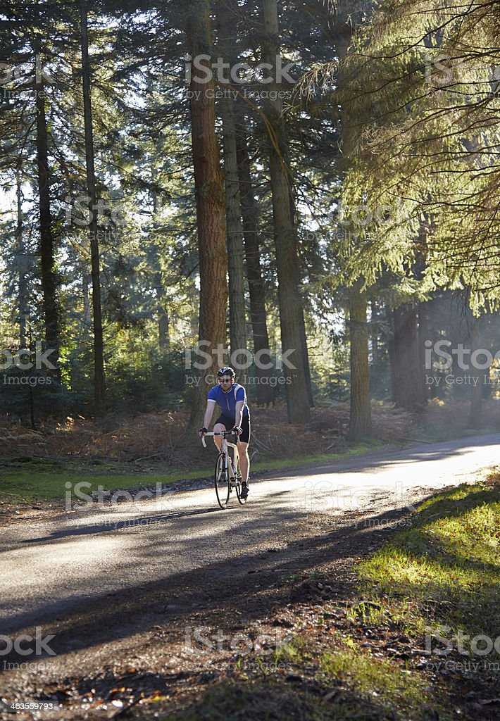 Cyclist on road though forest stock photo